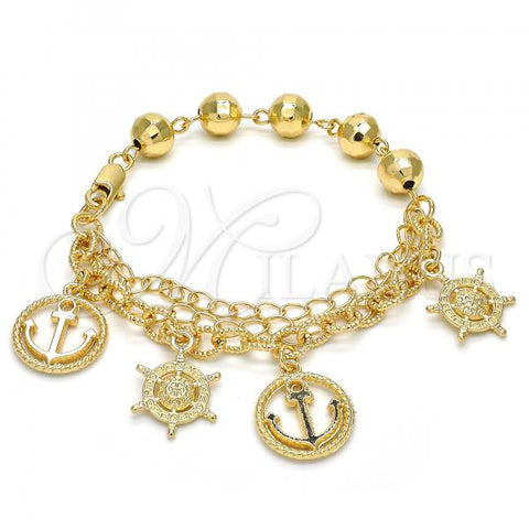 Gold Layered 03.179.0039.07 Charm Bracelet, Anchor Design, Polished Finish, Golden Tone