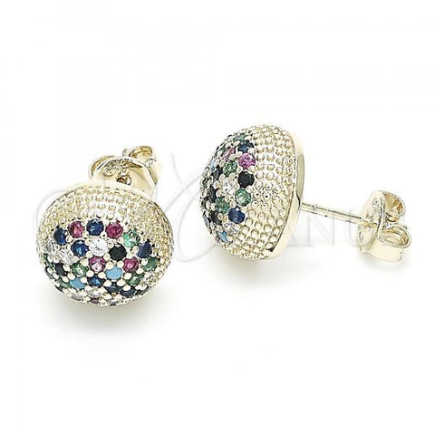 Gold Layered 02.156.0404 Stud Earring, with Multicolor Cubic Zirconia, Polished Finish, Golden Tone