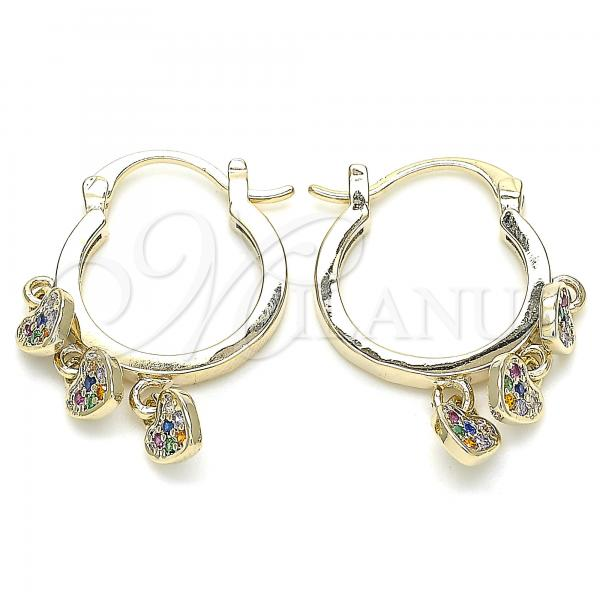 Gold Layered 02.65.2661 Long Earring, Heart Design, with Multicolor Cubic Zirconia, Polished Finish, Golden Tone