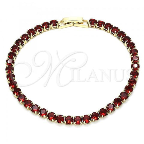 Gold Layered 03.130.0002.07 Tennis Bracelet, Polished Finish, Golden Tone with Garnet Cubic Zirconia, Polished Finish, Golden Tone