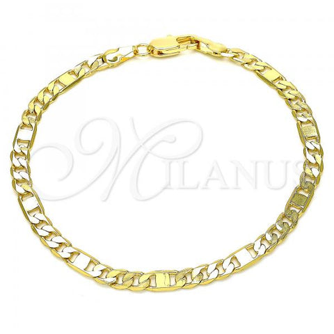 Gold Layered 04.319.0004.08 Basic Bracelet, Figaro Design, Polished Finish, Golden Tone