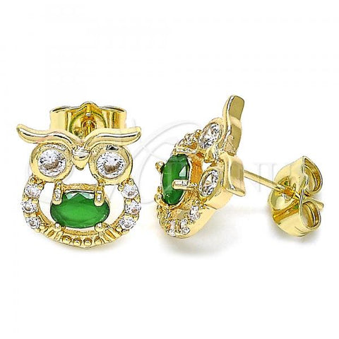 Gold Layered 02.210.0376.1 Stud Earring, Owl Design, with Green Cubic Zirconia and White Micro Pave, Polished Finish, Golden Tone