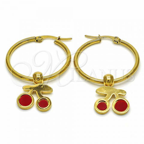 Stainless Steel 02.364.0001.30 Medium Hoop, Cherry Design, Red Enamel Finish, Golden Tone