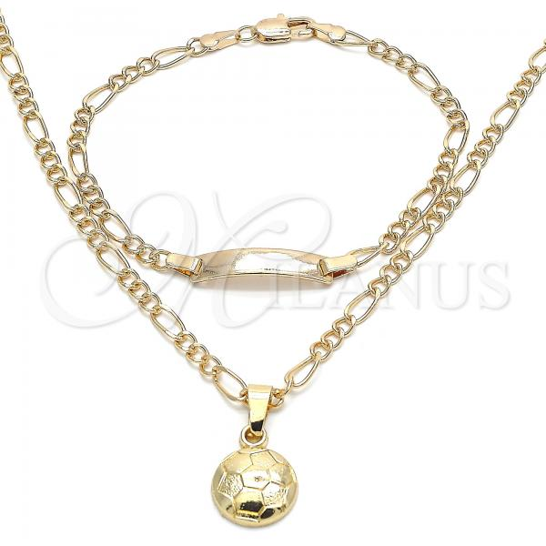 Gold Layered 06.63.0254 Earring and Pendant Children Set, Ball Design, Polished Finish, Golden Tone