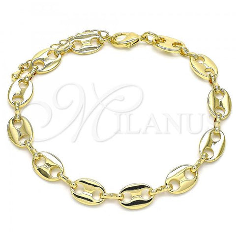 Gold Layered 04.326.0002.08 Basic Bracelet, Puff Mariner Design, Polished Finish, Golden Tone