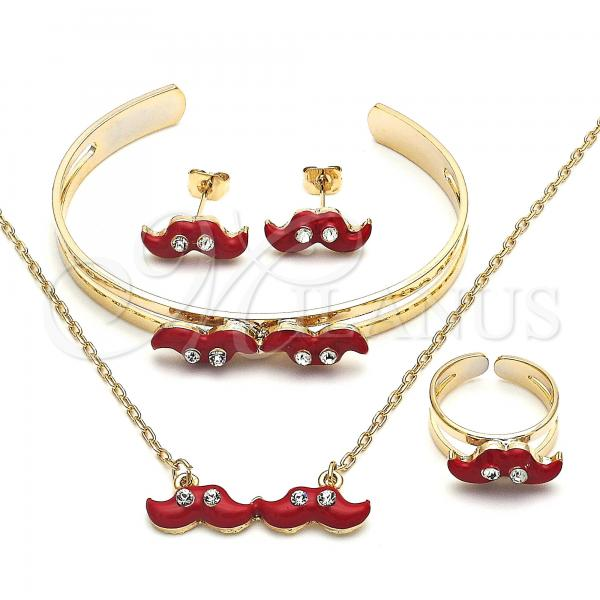 Gold Layered 06.65.0148 Earring and Pendant Children Set, Moustache Design, with White Crystal, Red Enamel Finish, Golden Tone