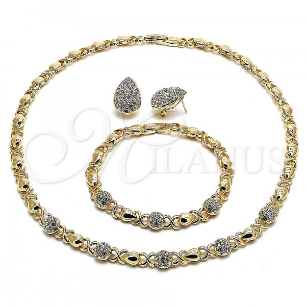 Gold Layered 06.372.0009 Necklace, Bracelet and Earring, Hugs and Kisses and Teardrop Design, with White Crystal, Polished Finish, Golden Tone