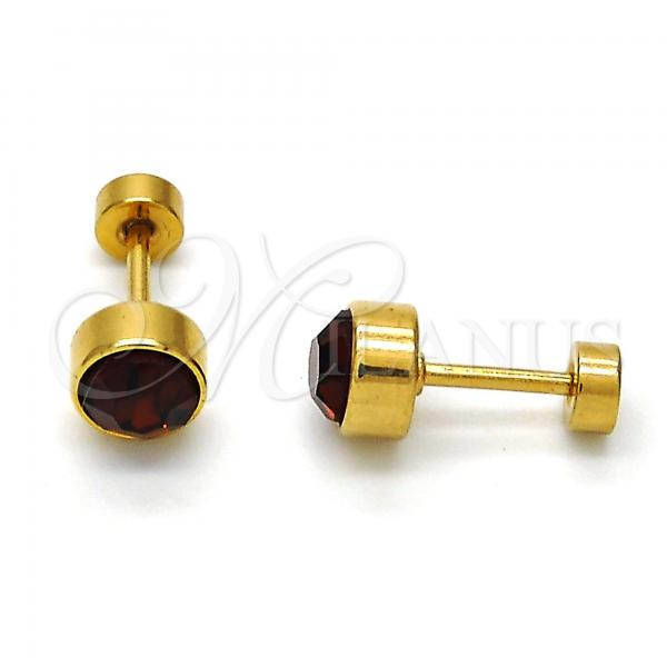 Stainless Steel Stud Earring, with Crystal, Golden Tone