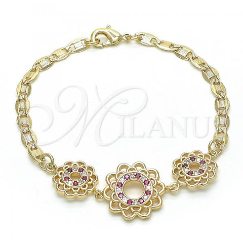 Gold Layered 03.233.0045.08 Fancy Bracelet, Flower Design, with Ruby and White Cubic Zirconia, Polished Finish, Golden Tone