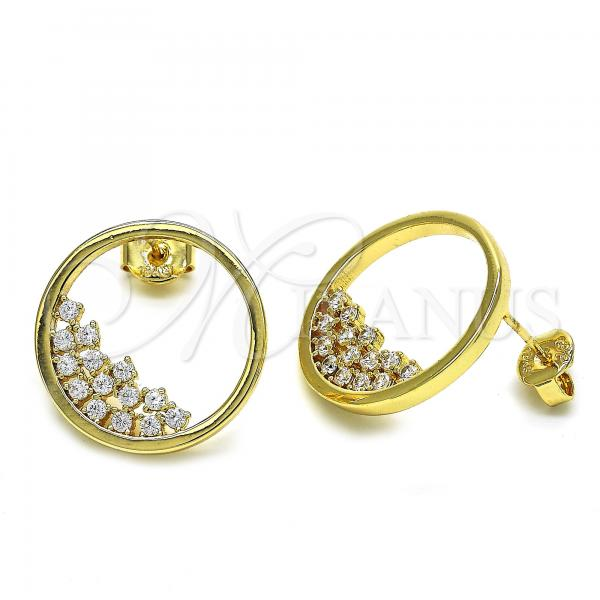 Gold Layered 02.94.0095 Stud Earring, with White Cubic Zirconia, Polished Finish, Golden Tone