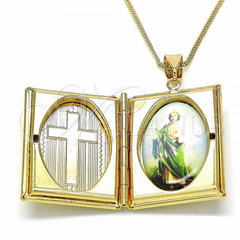 Gold Layered 04.253.0007.20 Pendant Necklace, San Judas and Cross Design, Polished Finish, Golden Tone