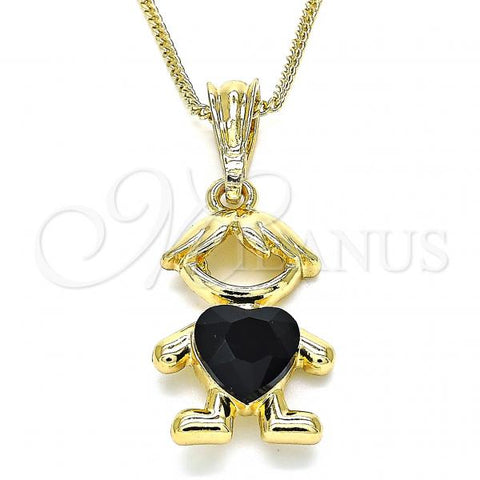 Gold Layered 04.380.0008.20 Pendant Necklace, Little Boy and Heart Design, with Black Crystal, Polished Finish, Golden Tone
