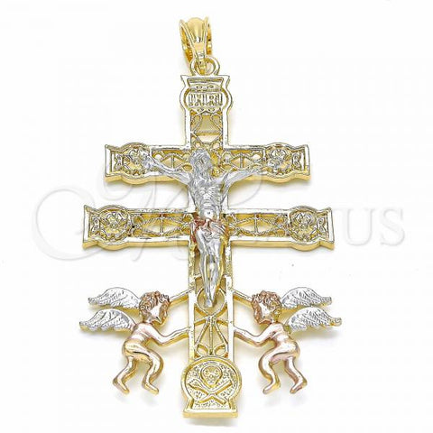 Gold Layered 05.351.0033 Religious Pendant, Crucifix and Angel Design, Polished Finish, Tri Tone