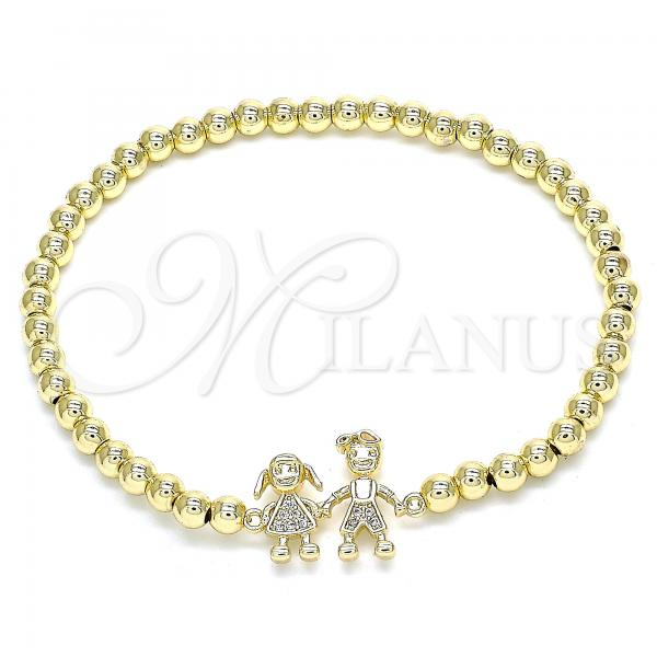 Gold Layered 03.299.0041.07 Fancy Bracelet, and Little Girl with White Micro Pave, Polished Finish, Golden Tone