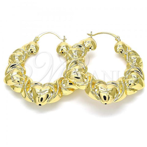 Gold Layered 5.149.003.45 Medium Hoop, Hugs and Kisses and Hollow Design, Diamond Cutting Finish, Golden Tone
