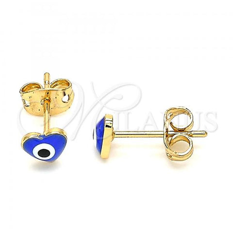 Gold Layered 02.213.0187.2 Stud Earring, Greek Eye and Heart Design, Blue Enamel Finish, Golden Tone
