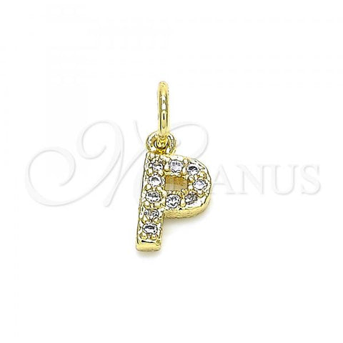 Gold Layered 05.341.0034 Fancy Pendant, Initials Design, with White Cubic Zirconia, Polished Finish, Golden Tone