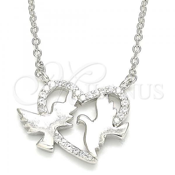 Sterling Silver 04.336.0183.16 Fancy Necklace, Bird and Heart Design, with White Micro Pave, Polished Finish, Rhodium Tone