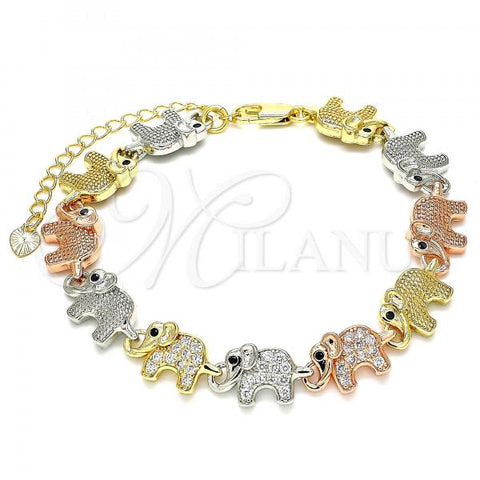 Gold Layered 03.380.0016.07 Fancy Bracelet, Elephant Design, with White and Black Micro Pave, Polished Finish, Tri Tone