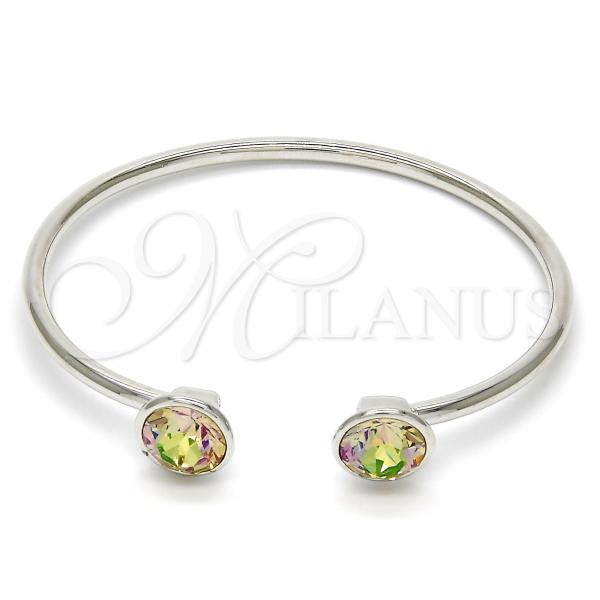 Rhodium Plated Individual Bangle, with Swarovski Crystals, Rhodium Tone