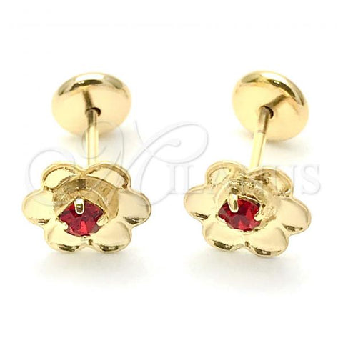 Gold Layered 02.09.0201 Leverback Earring, Flower Design, with Garnet Cubic Zirconia, Polished Finish, Golden Tone