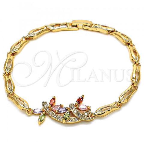 Gold Layered 03.323.0009.07 Fancy Bracelet, Dragon-Fly and Fish Design, with Multicolor Cubic Zirconia, Polished Finish, Golden Tone