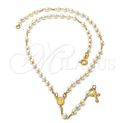 Gold Layered Thin Rosary, Virgen Maria and Crucifix Design, with Pearl, Golden Tone