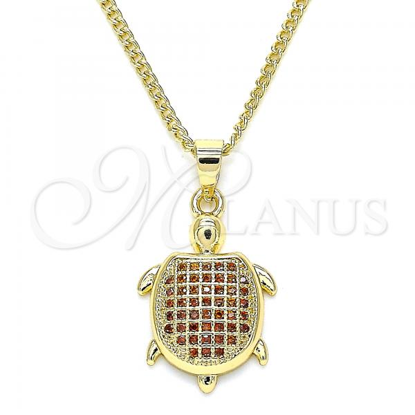 Gold Layered 04.344.0025.1.20 Pendant Necklace, Turtle Design, with Garnet Micro Pave, Polished Finish, Golden Tone