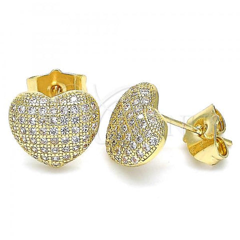 Gold Layered 02.156.0507 Stud Earring, Heart Design, with White Micro Pave, Polished Finish, Golden Tone