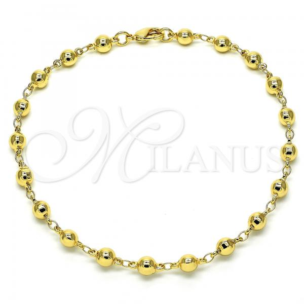 Gold Layered 03.326.0005.10 Fancy Anklet, Ball Design, Polished Finish, Golden Tone
