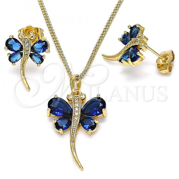 Gold Layered 10.210.0127.1 Earring and Pendant Adult Set, Dragon-Fly Design, with Sapphire Blue Cubic Zirconia and White Micro Pave, Polished Finish, Golden Tone