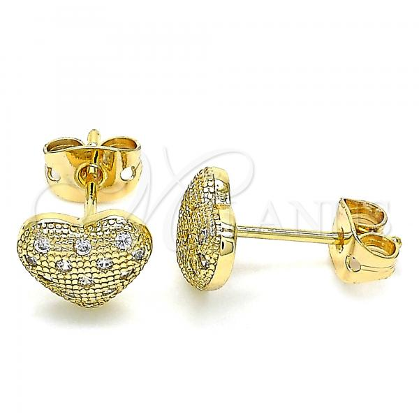 Gold Layered 02.342.0098 Stud Earring, Heart Design, with White Micro Pave, Polished Finish, Golden Tone