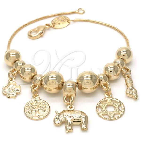 Gold Layered 03.32.0077.07 Charm Bracelet, Star of David and Elephant Design, Polished Finish, Golden Tone
