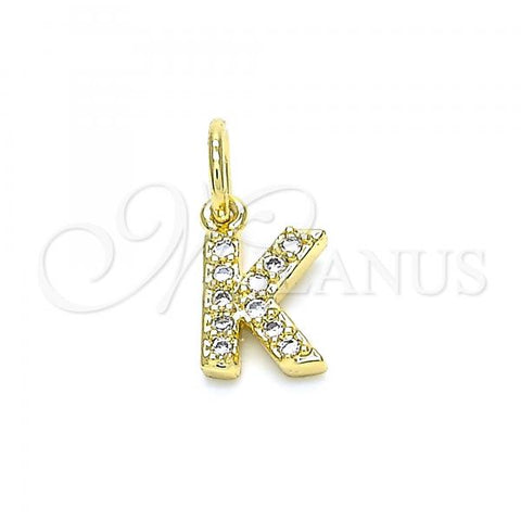 Gold Layered 05.341.0031 Fancy Pendant, Initials Design, with White Cubic Zirconia, Polished Finish, Golden Tone