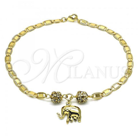 Gold Layered 03.63.2076.10 Charm Anklet , Elephant Design, with White Crystal, Polished Finish, Golden Tone