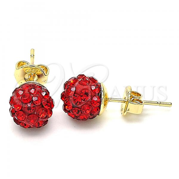 Gold Layered 02.63.2707.4 Stud Earring, with Garnet Crystal, Polished Finish, Golden Tone