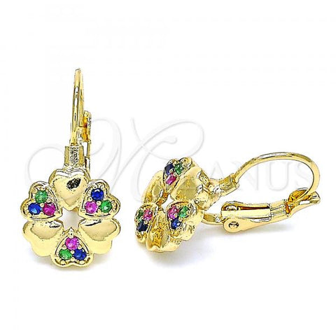 Gold Layered 02.210.0382.3 Leverback Earring, Flower and Heart Design, with Multicolor Micro Pave, Polished Finish, Golden Tone