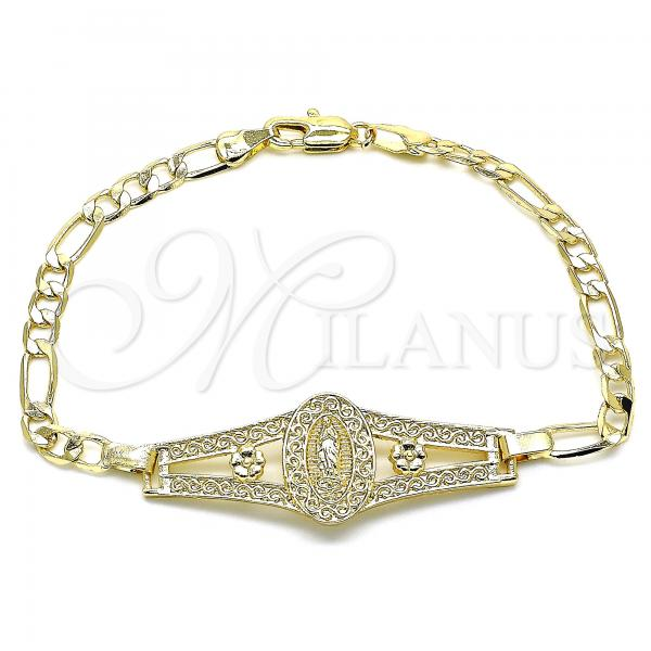 Gold Layered 03.351.0090.08 Fancy Bracelet, Guadalupe and Flower Design, Polished Finish, Golden Tone