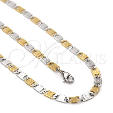 Stainless Steel 04.113.0043.24 Necklace and Bracelet, Mariner Design, Two Tone
