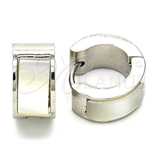 Stainless Steel 02.216.0069.15 Huggie Hoop, with White Opal, Polished Finish, Steel Tone