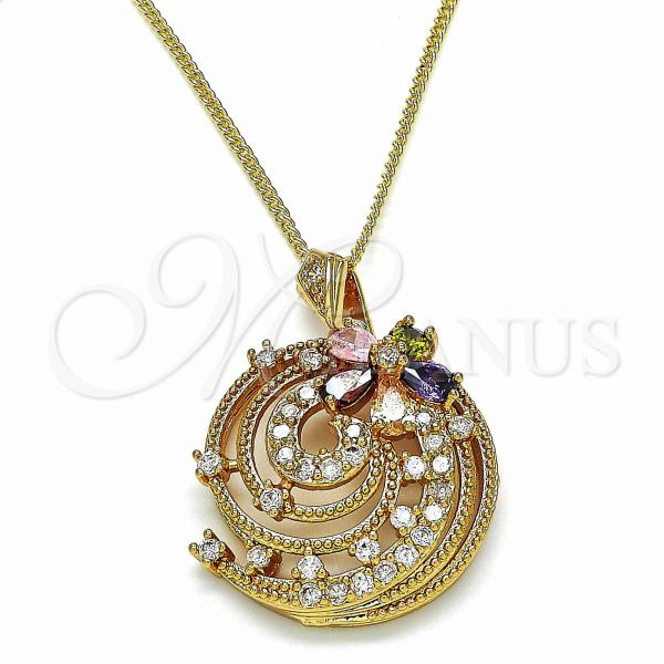 Gold Layered 04.284.0020.20 Fancy Necklace, Flower Design, with Multicolor Cubic Zirconia, Polished Finish, Golden Tone