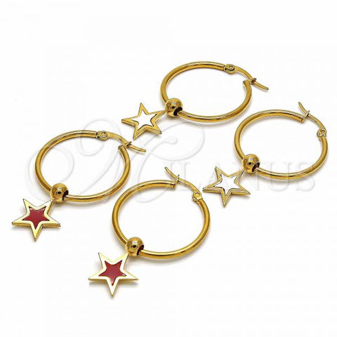 Stainless Steel Medium Hoop, Star Design, Golden Tone