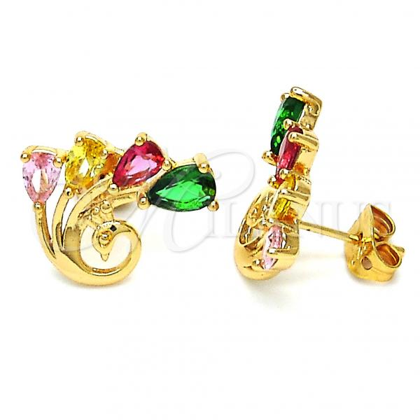 Gold Layered 02.213.0147 Stud Earring, Peacock Design, with Multicolor Cubic Zirconia, Polished Finish, Golden Tone