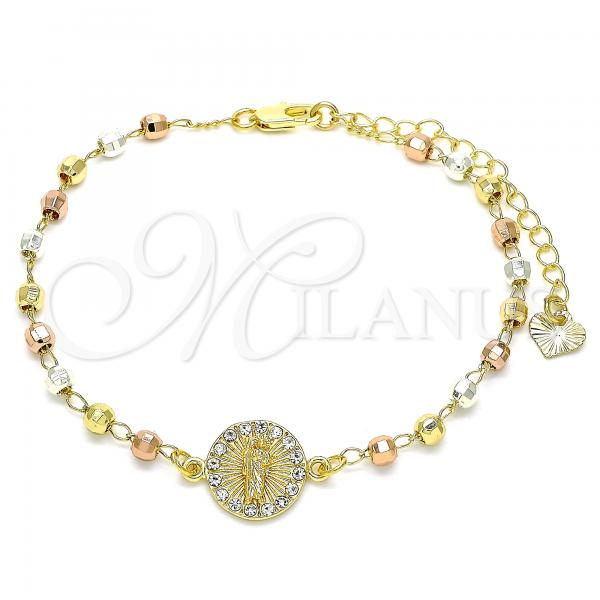 Gold Layered 03.253.0061.07 Fancy Bracelet, San Judas Design, with White Crystal, Polished Finish, Tri Tone