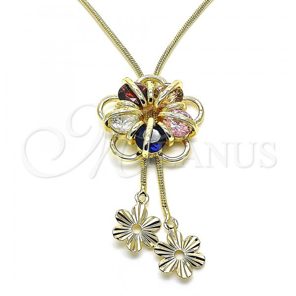 Gold Layered 04.347.0011.20 Fancy Necklace, Flower Design, with Multicolor Cubic Zirconia, Polished Finish, Golden Tone