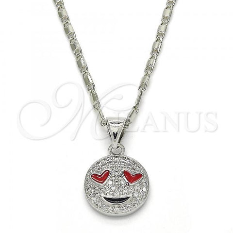Rhodium Plated 04.313.0011.1.20 Pendant Necklace, Heart Design, with White Cubic Zirconia, Polished Finish, Rhodium Tone