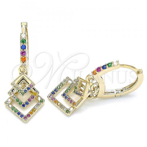 Gold Layered 02.65.2659 Long Earring, with Multicolor Cubic Zirconia, Polished Finish, Golden Tone
