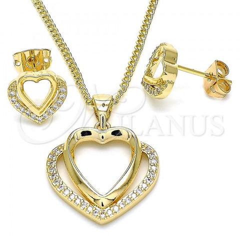Gold Layered 10.342.0036 Earring and Pendant Adult Set, Heart Design, with White Micro Pave, Polished Finish, Golden Tone