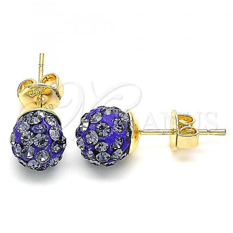 Gold Layered 02.63.2707.2 Stud Earring, with Violet Crystal, Polished Finish, Golden Tone