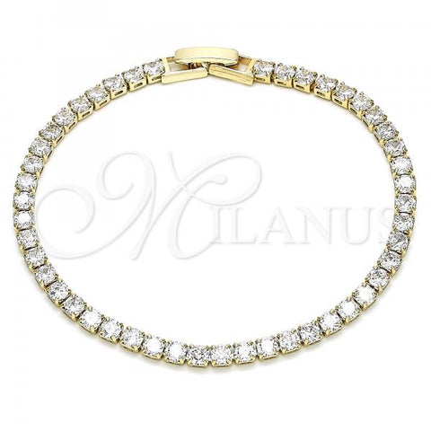 Gold Layered 03.130.0001.07 Tennis Bracelet, Polished Finish, Golden Tone with White Cubic Zirconia, Polished Finish, Golden Tone